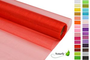 9m Rolle Organza 16cm CRYSTAL, Farbauswahl:rot 250