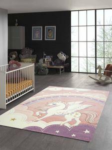 Kinderzimmer Teppich Einhorn Regenbogen creme rosa Größe - 140x200 cm