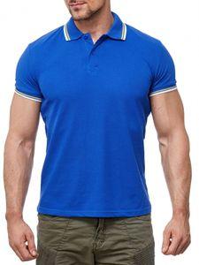 Herren Polo Shirt Basic Uni Kurzarm Kontrast Hemd H1991, Farben:Blau, Größe Hemd:XXL