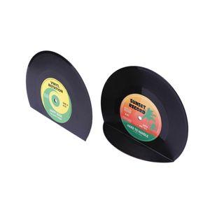 1 Paar Bücherstopper Halter Buchstützen 2 Teilige Schallplatte ABS Kreative Buchenden Runde Geformte Büromaterialien