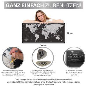 Pustalon Weltkarte Zum Rubbeln Deutsch - nachhaltig hergestellt in Deutschland - Edelstahl Rubbel-Chip, Rubbel Weltkarte Poster - Wandposter Design Edition, schöne Geschenk-Verpackung , Farbe: Deutsch Silber / Schwarz