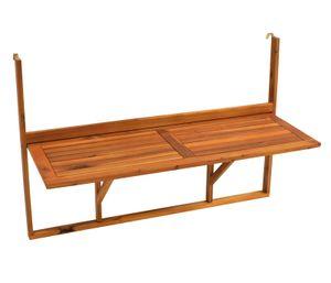 DEGAMO Balkonhängetisch Balkontisch Hängetisch 120x40cm klappbar, Akazienholz geölt