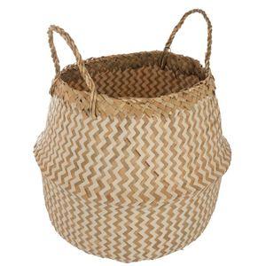 Deko-Korb aus Weiden- und Seegras, zweifarbig, Farbe:weiß