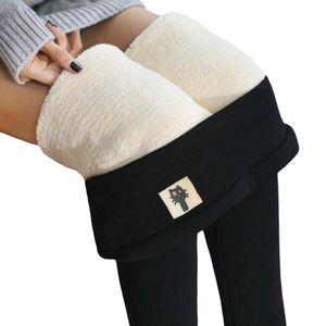 Damen Warme Thermo Leggings Verdicken mit Plüsch Gefüttert Slim Lange Leggings Elastische Winter Strumpfhose Hosen@#Schwarz 1-XL