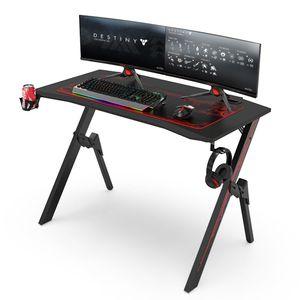 Gaming Tisch, Gamer Desk, Computertisch mit innovativem Design, Hohe Qualität, L: 110 cm, T: 55 cm, H: 75 cm