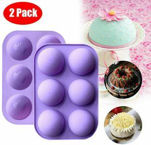 2Pack 6-Loch-Silikonform Rund 3D-Halbkugel-Schokoladenform-Kuchenform