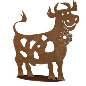 H.g-deko 8-0130 Lustige Kuh Metall mit Edelrost, H60cm