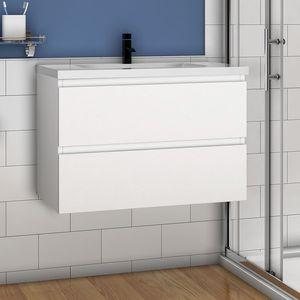 Waschtisch mit Unterschrank 80cm Badezimmer Waschtisch mit Unterschrank Weiß Matt