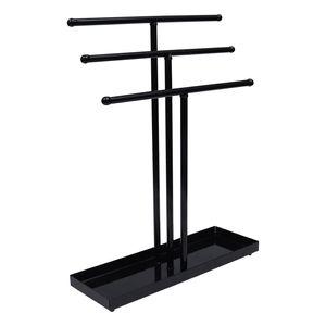 3-teiliger Tisch Schmuckständer Schmuck Organizer - Schwarzer Metall Schmuckbaum mit 3 Stangen (H38,5xB29,5cm) - Schmuckhalter mit Ringablage Schmuckhalter Ketten, Armbänder, Ohrringe, Ringe, Uhren