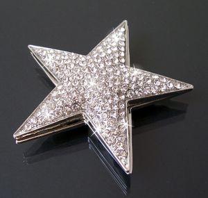 Brosche Magnet Magnetbrosche Strass Stern 5cm Silber Schmuck B731