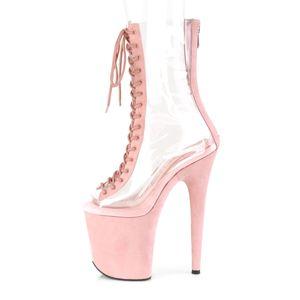 Pleaser FLAMINGO-800-34FS Plateau Ankleboots baby pink rosa, Größe:EU-38 / US-8 / UK-5