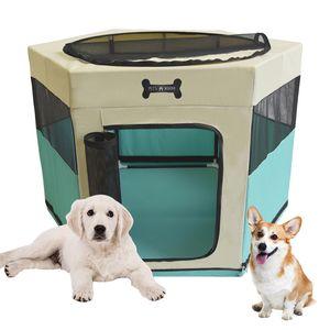 MC Star Faltbarer Welpenlaufstall Welpenauslauf Hundehütte Tierlaufstall Haustier Zelt für Hunde, Katzen, Hasen (Grün, 90*90*61CM)