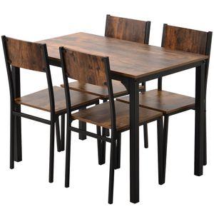 Esstische Mit 4 Stühle, Küchentisch-Set, Metallgestell, für Küche, Wohnzimmer, Esszimmer, Industrie-Design, Vintagebraun-Schwarz