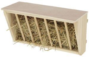 Kerbl Holz-Heuraufe mit Sitzbrett - 37x17x20 cm