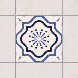 Fliesenaufkleber - Mediterrane Fliese weiss blau 10cm x 10cm - Fliesensticker Set, Setgröße:20teilig
