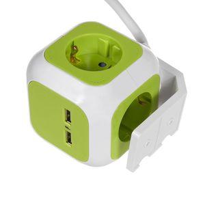 4-fach Steckdosenwürfel 2x USB Anschluss Schuko Steckdose Kinderschutz Halterung