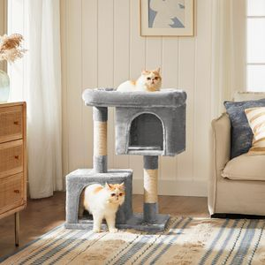 FEANDREA Kratzbaum hellgrau 84 cm mit Plattform Spielhaus 2 Plüschhöhlen Kletterbaum für Katzen PCT61W