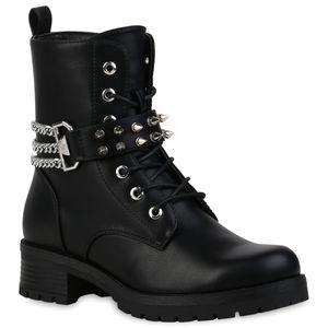 VAN HILL Damen Schnürstiefeletten Stiefeletten Nieten Stiefel Ketten Schuhe 837687, Farbe: Schwarz, Größe: 39