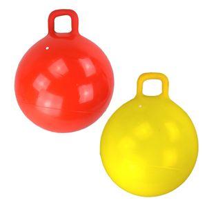 Hüpfball 50cm mit Griff Sprungball Springball rot oder gelb Hopser Ball Kinder, Farbe:gelb