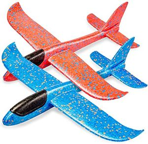 2xGleitflieger Wurfgleiter (Blau+Rosa),XXL ,Styropor-Flieger, 48cm