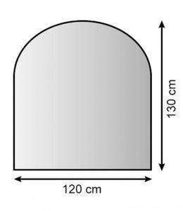 Funkenschutzplatte / Bodenplatte Lienbacher silber halbrund 120x130cm