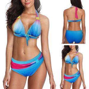Frauen Bandage Badeanzüge Bikini Set Strandkleidung Zweiteiliger Badebekleidung,Farbe:Blau,Größe:XXL