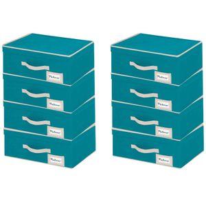 8er Set Wenko Breeze Aufbewahrungsbox Stapelbox 44 x 19 x 33 cm   Faltbox Schuhbox mit Deckel   Aufbewahrungsboxen Faltkiste Korb