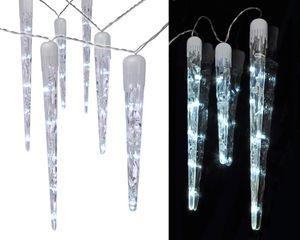 Haushalt International LED Lichterkette mit 10 Eiszapfen kaltweiß  6,35 m