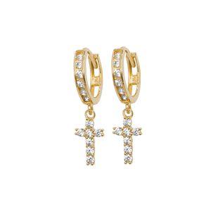 Schöne 9 Karat (375) Gold kreuz Damen - Paar Ohrringe mit Zirkonia; WJS20295