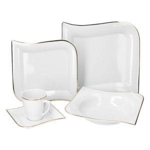 30tlg Geschirrset Silverline Kombi 6Pers Gold Kaffee Unterteller Kuchen/Speiseteller Suppenschale