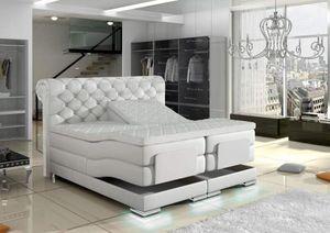 Manchester Boxspringbett elektrisch Weiß Kunstleder - 160 x 200 cm