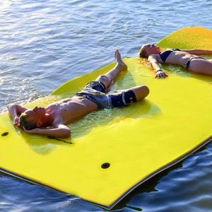 COSTWAY Wasserhaengematte Wasserliege Schwimmmatte Schwimmfloss, Schwimmender Teppich 270 x 180 x 3,5cm, Schwimmende Wasser Bett Gelb