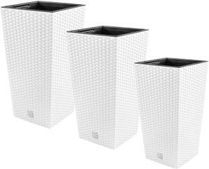 PAFEN 3in1 Set 3X Blumentopf Blumenkübel Rattan-Optik Weiß Pflanztopf inkl. Einsatz XL-Set