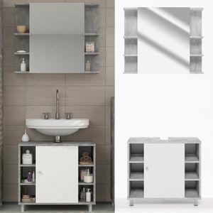 Badmöbel Set FYNN Grau Beton - Badezimmer Spiegel Waschtisch Unterschrank Badschrank