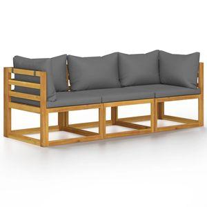 vidaXL 3-Sitzer-Gartensofa mit Auflage Akazie Massivholz