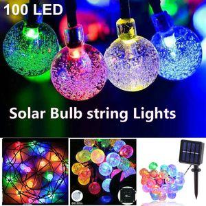Miixia 100 LED Bunt Solar Kugel Lichterkette Garten Außen Outdoor Beleuchtung Lampe Party Licht 12M Weihnachten