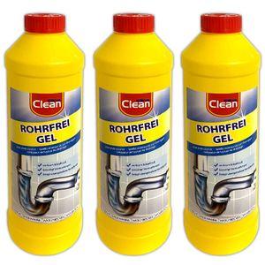 3er Set Rohrreiniger Konzentrat 1 Liter Abflussreiniger Rohrreinigunsmittel Rohrreinigung Rohr Reiniger Abflussfrei