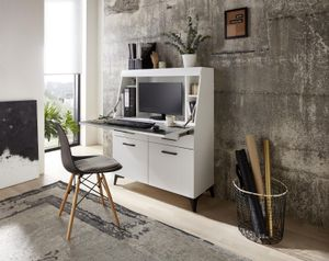 "Sekretär Schreibtisch Bürotisch Tisch Büromöbel ""Secret I"" weiß matt MDF"