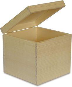 Creative Deco Quadratische Holzbox Holzkiste mit Deckel | 16 x 16 x 16 cm | Aufbewahrungsbox Spielzeugkiste Unlackiert Kasten | Ideal für Wertsachen, Spielzeuge und Werkzeuge