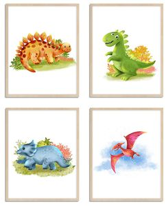 WIETRE® 4er Set Bilder Dinosaurier Kinderzimmer Babyzimmer Deko   Bild Junge Mädchen Poster DIN A4   Dinos T-Rex Tiere Tierposter Dekoration - ohne Rahmen