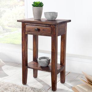 Massiver Telefontisch HEMINGWAY 55cm Mahagoni Shabby Chic Coffee Beistelltisch Flurtisch Nachttisch Wohnzimmertisch