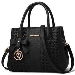 Frauen Mädchen Handtasche Damen Geldbörse Schulter Messenger Satchel Crossbody Tote Bag Schwarz, 28x10x20cm