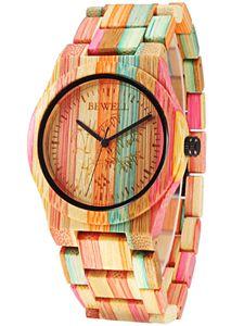 Alienwork Damen-Armbanduhr Quarz Mehrfarbig mit Holz-Armband natŸrliche Bambus handgefertigt