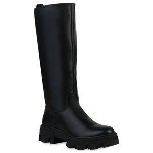 VAN HILL Damen Stiefel Plateaustiefel Blockabsatz Profil-Sohle Schuhe 837680, Farbe: Schwarz, Größe: 38