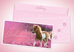 Friendly Fox Pony Einladung - 12 Pferde Einladungskarten zum Geburtstag Kinder Mädchen - Einladung Kindergeburtstag - Pferde Geburtstag - inkl. passende Umschläge