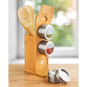 GKA 7 teilig Gewürzständer Bambus Edelstahl mit Holzlöffel & Magnet Gewürzdosen Gewürzregal