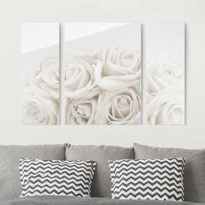 Glasbild mehrteilig - Weiße Rosen 3-teilig, Größe HxB:80x30cm 80x60cm 80x30cm