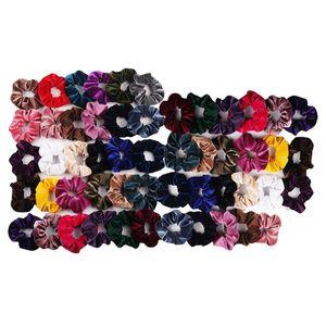 53 Stück Damen Haargummis Elastische Haarbänder Gummibänder Bunte Haar Scrunchies aus Samt