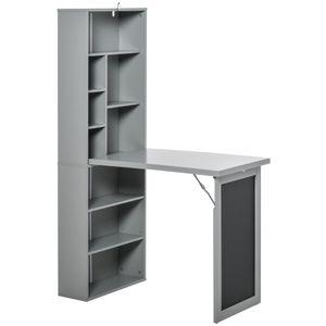 HOMCOM Schreibtisch klappbar mit 6 Fächer Bücherregal mit 3 Regale Computertisch Bürotisch E1 Spanplatte Metallrahmen Dunkelgrau 98 x 51 x 153 cm