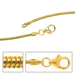 JOBO Schlangenkette 333 Gelbgold 1,4 mm 50 cm Gold Kette Halskette Karabiner